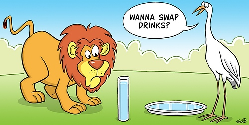 cartoon of lion trying to drink from a tall glass and stork trying to drink from a flat plate
