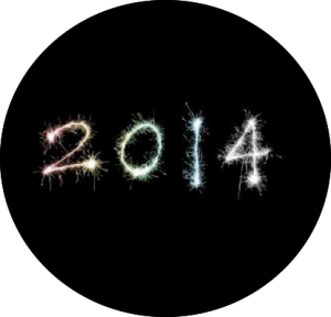 Black circle with '2014' written in