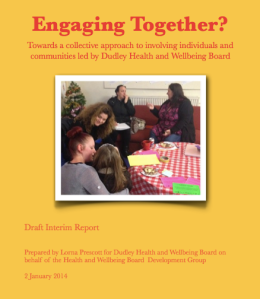 Shot of front cover of report called Engaging Together?